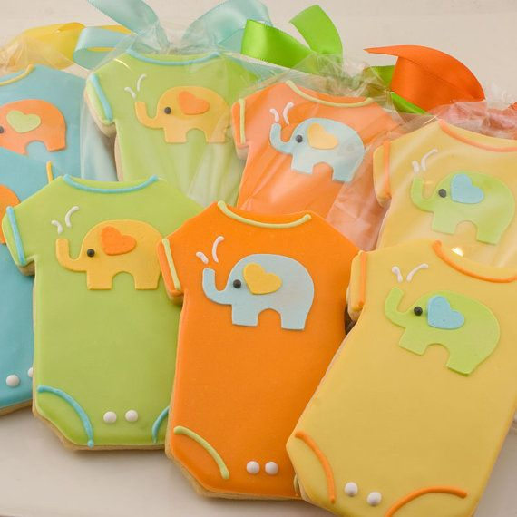 Elephant Onesie Sugar Cookie Favors  12 favors gift by TSCookies, $36.00