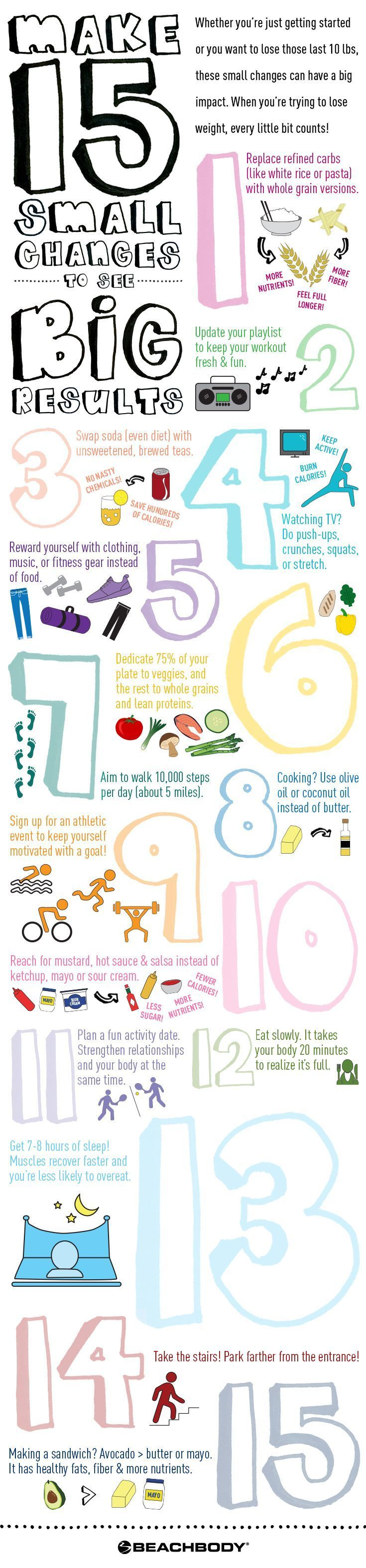 Whether you're just getting started on your fitness journey or you're trying to lose those last few pounds, these little changes that can have a big impact on creating a healthier life. And they're simple to incorporate into your daily routine! // fitness // nutrition // weight loss // diet // tips // beginner // new year // changes // resolution // lose weight // eat healthy // Beachbody