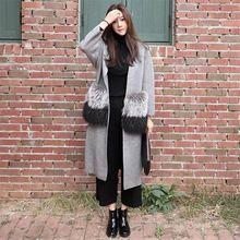 [Soonyour] 2016 Outono e inverno novas mulheres casaco de lã De Alta imitação de pele de raposa dividir em caxemira camisola longa cardigan RS062(China (Mainland))