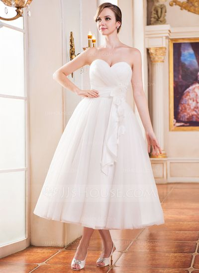 A-Line/Princess Sweetheart Tea-Length Taffeta Tulle Wedding Dress With Ruffle Flower(s) (002052651)