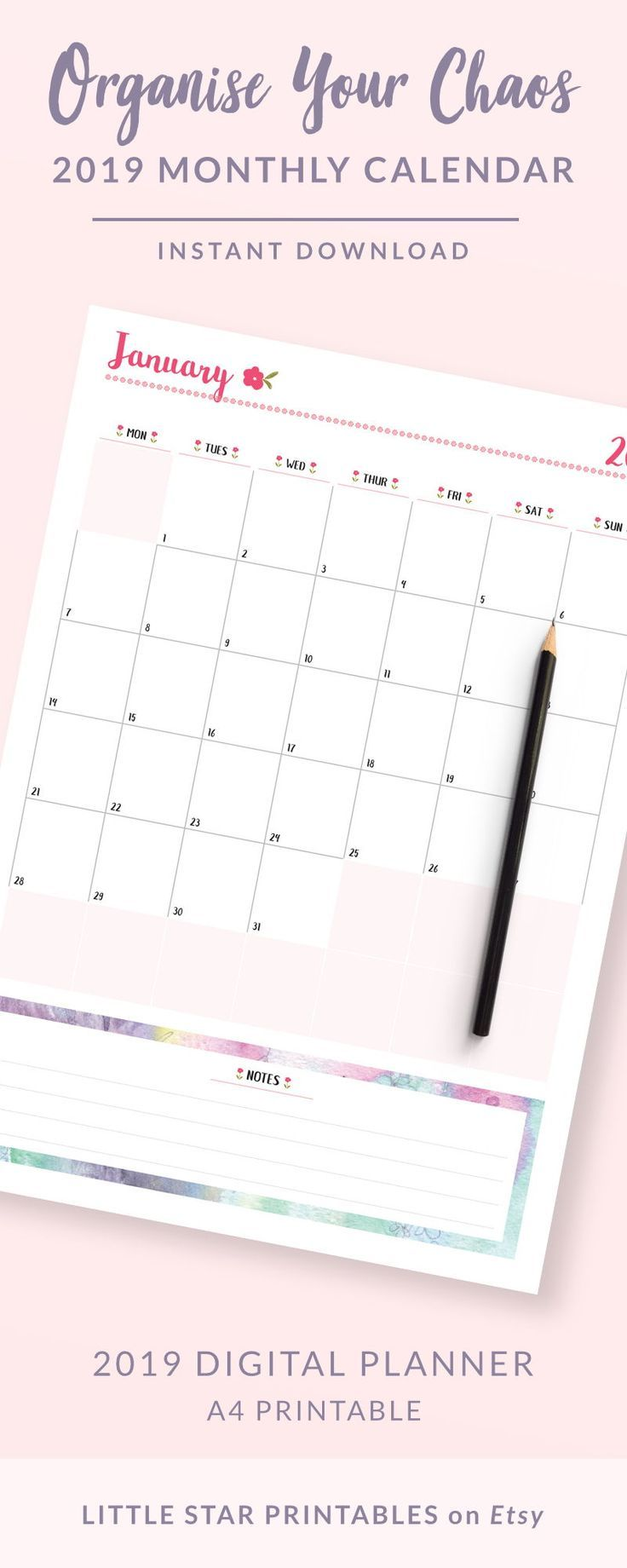 2019 Monthly Planner Printable, Weekly Planner Printable, Daily
