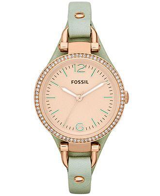 ♥ #Fossil #Watches exclusively at #CapriJewelersArizona ~ www.caprijewelersaz.com ♥  Fossil Women's Georgia Mint Leather Strap Watch 32mm ES3467 - Watches - Jewelry & Watches