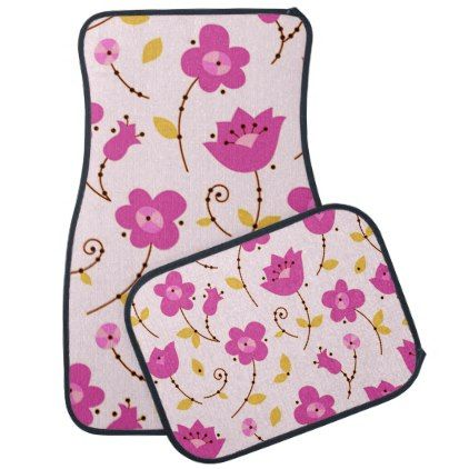 Posies 5 car floor mat - floral style flower flowers stylish diy personalize