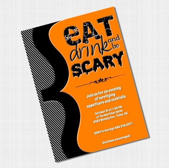Halloween Invites  Eat Drink and Be Scary by NuzzleDesign on Etsy, $15.00