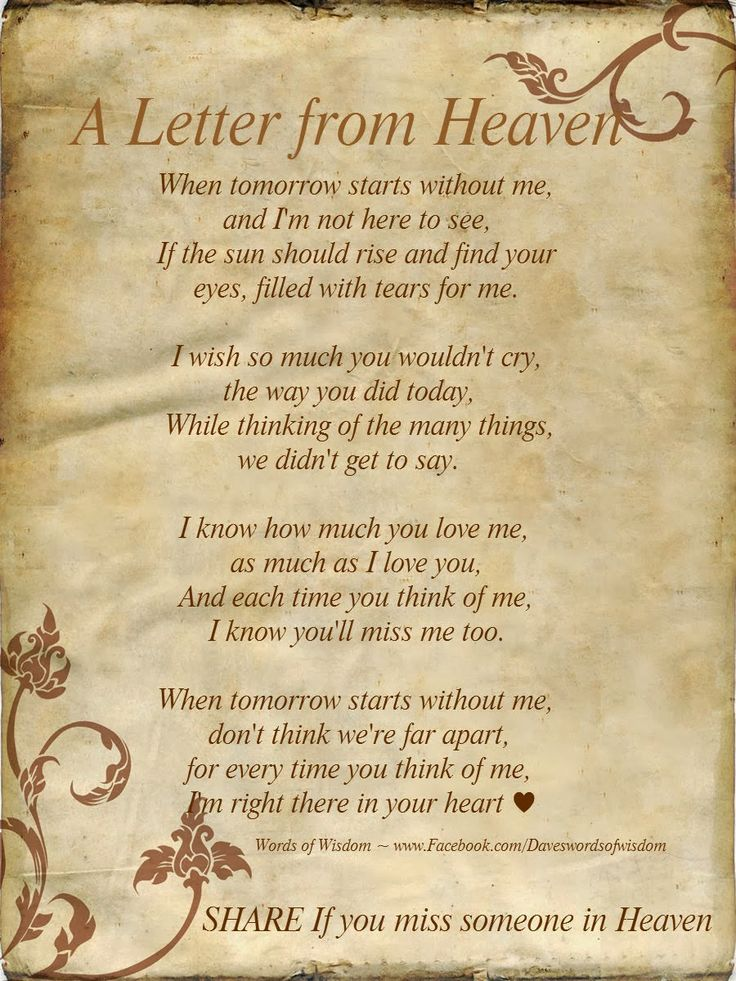 Wisdomtoinspirethesoul.com: A Letter From Heaven