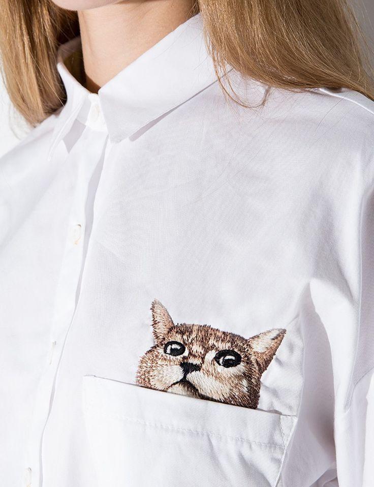Kitten Embroidered Pocket Shirt - Cat Shirt #pixiemarket #fashion #womenclothing @pixiemarket