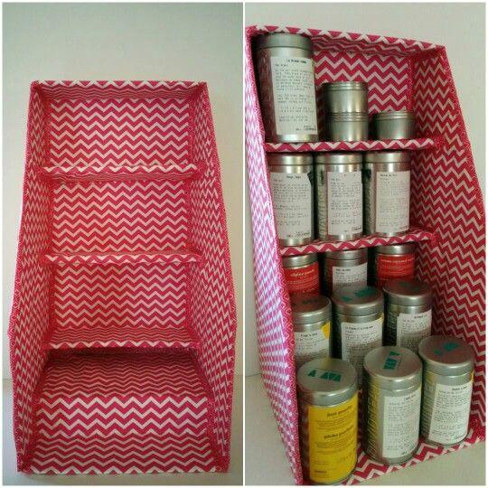 DIY tea storage. With David's tea shipping box.