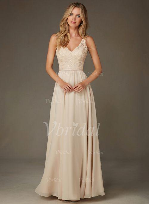 Robes de demoiselle d'honneur - $129.00 - Forme Princesse Col V Longueur ras du sol Mousseline de soie dentelle Robe de demoiselle d'honneur (0075095151)