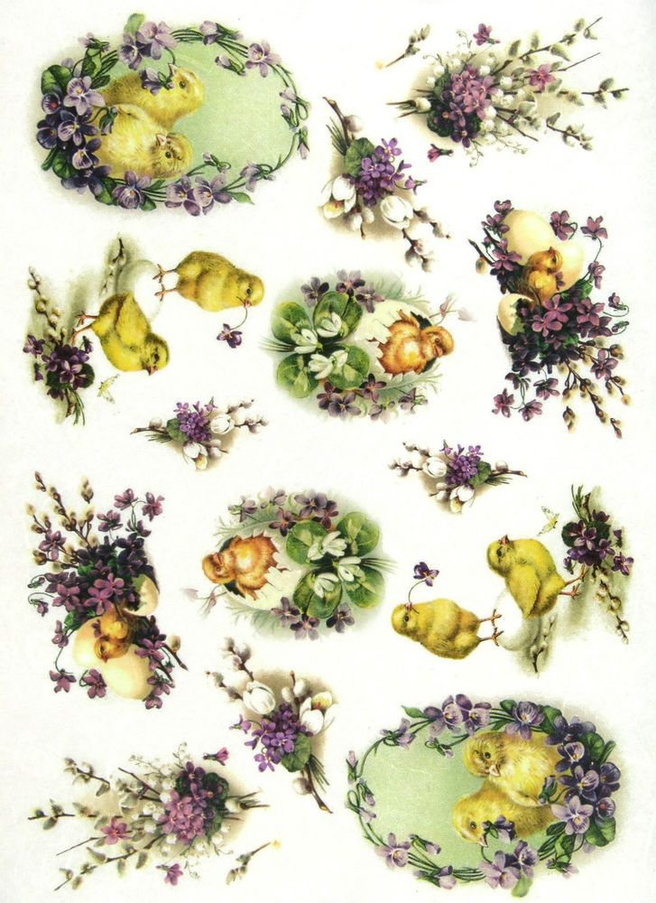 Ricepaper/Decoupage paper, Scrapbooking Sheets Vintage Easter Chicks in Flowers