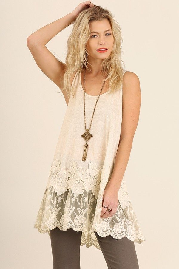 Cream Racerback Floral Lace Tunic