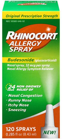 Allergy/asthma nasal spray - cheap price: Rhinocort (Budesonide) is used to control and prevent symptoms (wheezing and shortness of breath) caused by asthma.