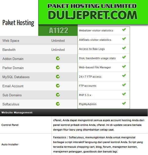 A1123 Layanan Online Hosting Terdedikasi serba Unlimited