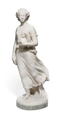 Shakespeare Wood (British, died 1886) Title: A young maiden , 1857 Medium: marble Size: (38.6 x 11.8 x 13 in.)