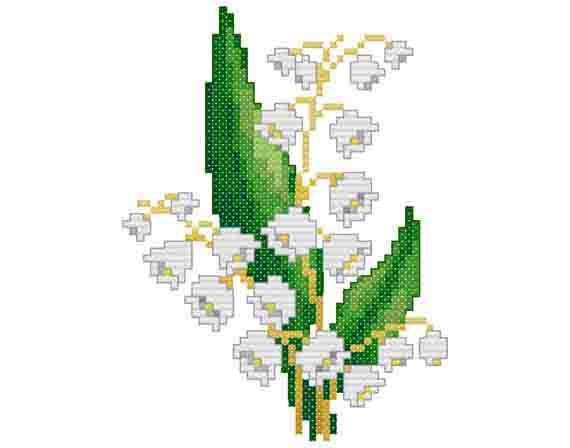 "Lily of the valley -  PDF Cross Stitch Pattern,  Fabric:	18ct or 14ct Aida, Grid Size:	49W x 65H, Design Area:	2.61"" x 3.50""  (18ct)  or  3.36"" x 4.50""  (14ct)"
