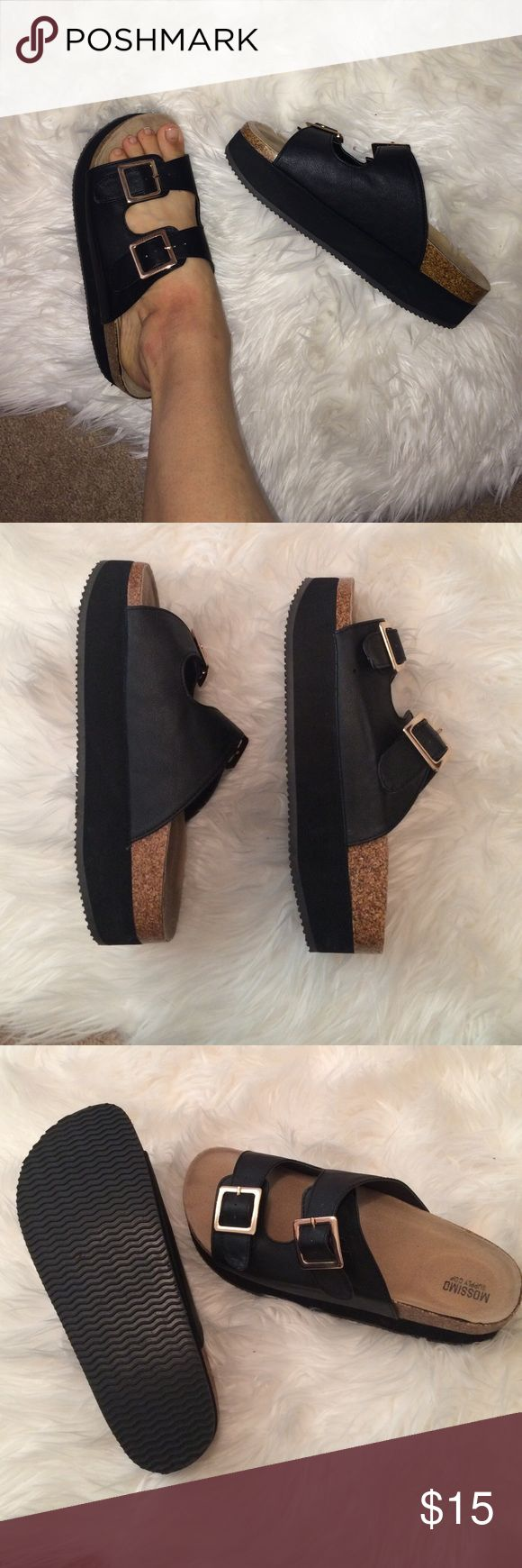 Wedge black buckle slides 8 Birkenstock type Great condition wore twice Mossimo Supply Co Shoes Sandals