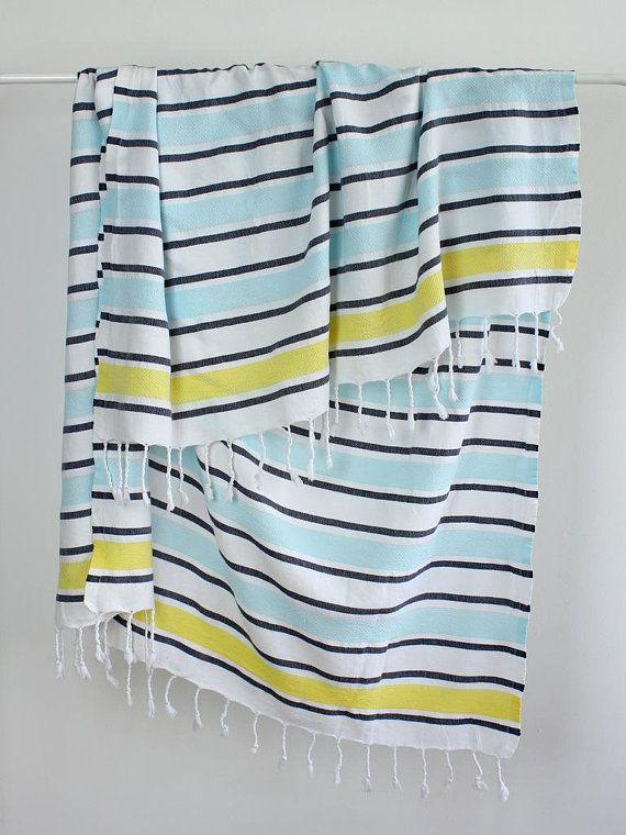 Large Beach Towel Turkish Towel Wrap Blue Yellow Striped Beach