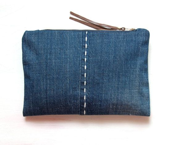 Small Clutch Blue ECO Recycled by GiftShopBrooklyn
