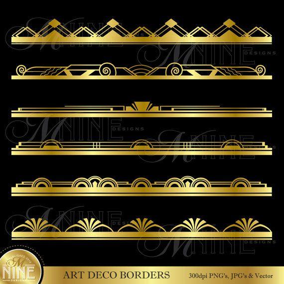 BORDURE or ART déco Clip Art : Art déco Design par MNINEDESIGNS