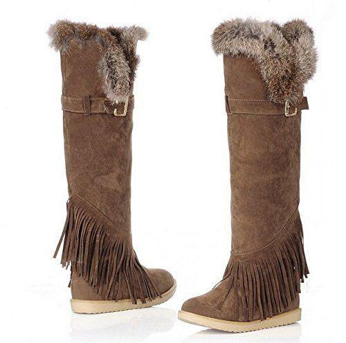 Neue Mode Damen Barreled Baumwolle Stiefel Flache hohe Stiefel Overknee-Stiefel mit Fransen Stiefeln warme Schneeschuhe multicolor Big Größe - http://on-line-kaufen.de/long-dream/neue-mode-damen-barreled-baumwolle-stiefel-hohe