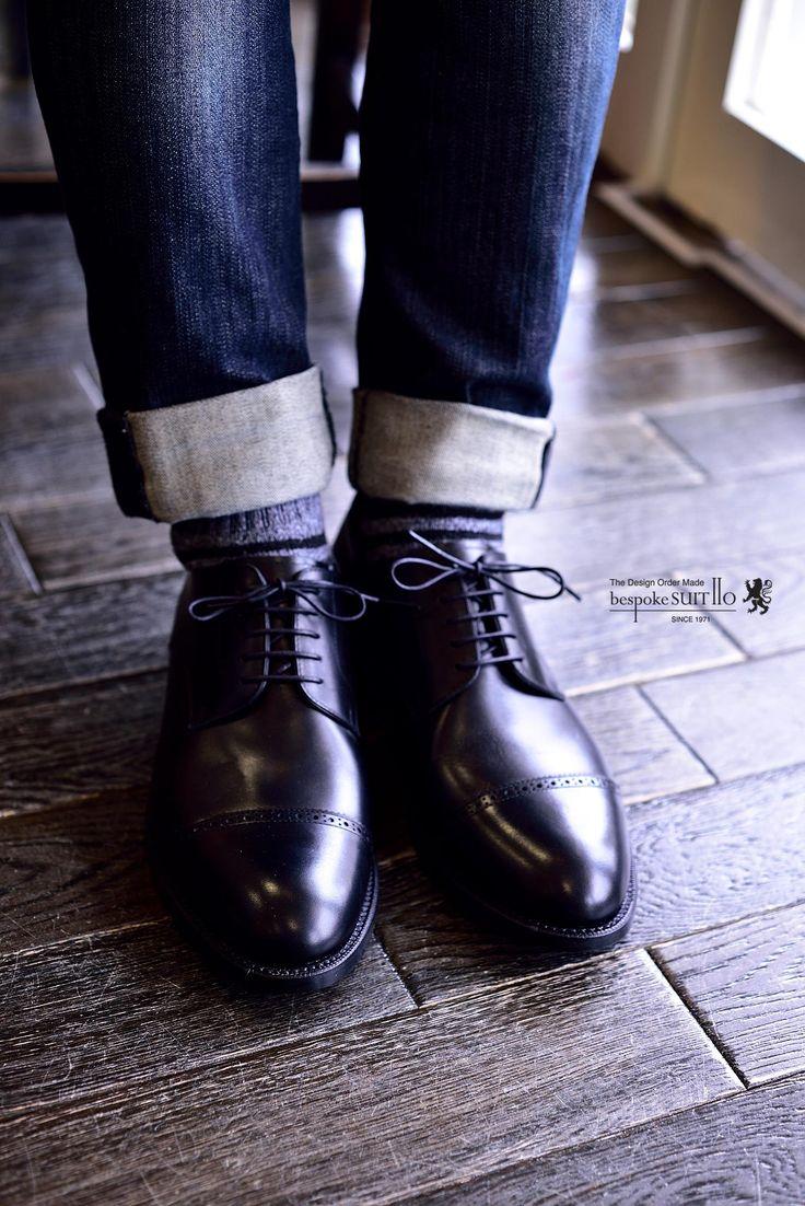 宮城興業の和創良靴(わそうりょうか)のオーダー靴、トゥはラウンドのESタイプのストレートチップの黒靴。外羽根なのでオフでも使いやすいですね。,宮城興業,ES,外羽根,和創良靴,オーダー靴,革靴,誂え,紳士,オーダーメイド,福岡,黒崎,北九州,ビスポークスーツ110,bespokeSUIT110,bespokeSUITIIO,