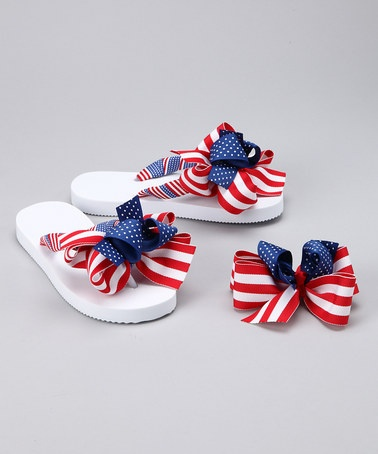 Take a look at this Blue & Red Fourth of July Flip-Flops & Hair Bow by Summer Accessories: Flip-Flops & Bows on #zulily today!