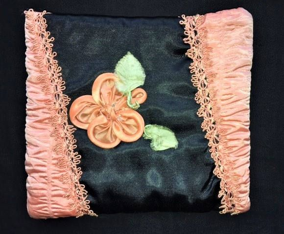 Vintage Padded Silk Handkerchief Case- Black and Peach, Very pretty VIntage item, Fully Lined, Lovely Boudoir Accessory/DressingTable piece. by GINGERMINTVINTAGE on Etsy