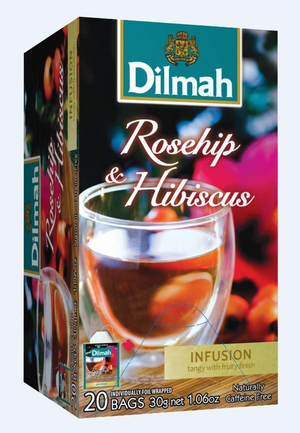 Čaj Dilmah z okusom Šipka in Hibiskusa.