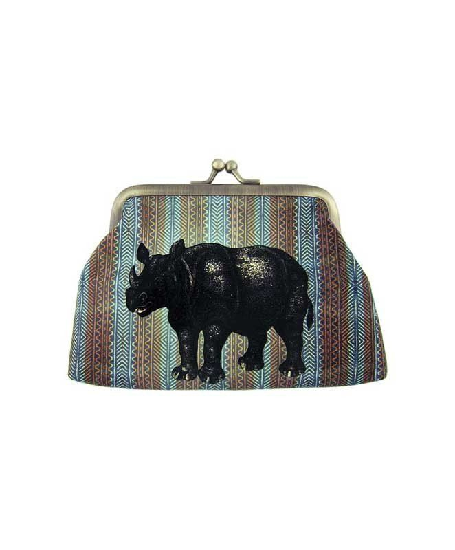 Made with SGS tested toxic-free faux/vegan leather, this vintage style kiss lock frame faux/vegan leather coin purse features lovely Rhino on ikat style print by Mlavi Studio. Wholesale available at http://mlavi.com/mlavi-animal-themed-vegan-bag-wallet-and-accessories-wholesale.html #animal #vegan #wholesale #fashion #accessories #gift