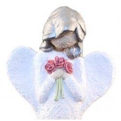 Engel Med Blomster - Farge Hvit, Sølv Hår