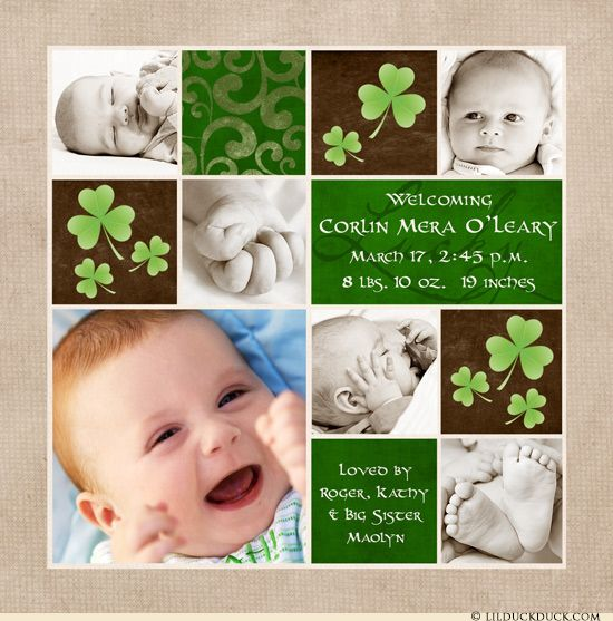 This colorful blocks Irish birth announcement design uses shades of green, cream & deep brown to accent your newborn's photos! Shamrock graphics dance around your personalized Irish wording to share your own baby's birth in your own words. Use 0-13 photos on this customizable shamrock baby card design for an adorable newborn showcase.