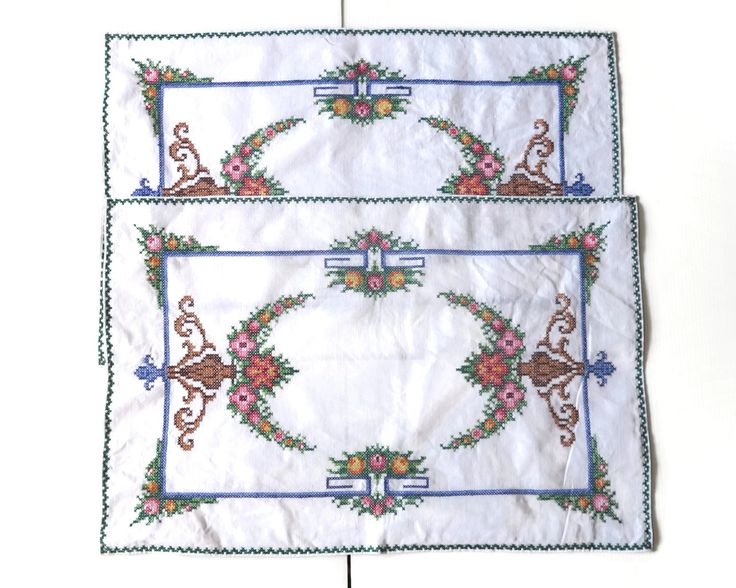 2 hand embroidered placemats with elaborate cross stitched pattern and green cross stitched border, mid 20th century by CardCurios on Etsy