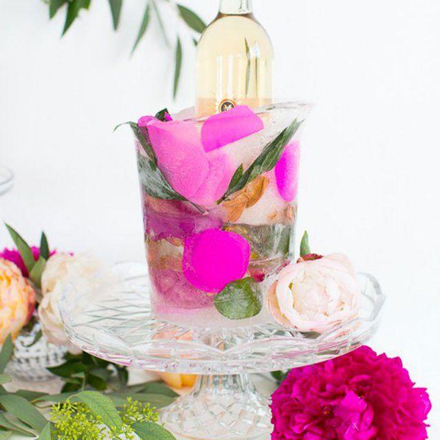 Seau glacé fleuri / diy ice bucket with flowers