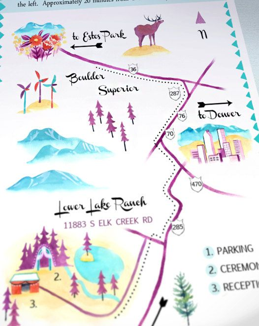 watercolor wedding map from Erin Makai on @Etsy