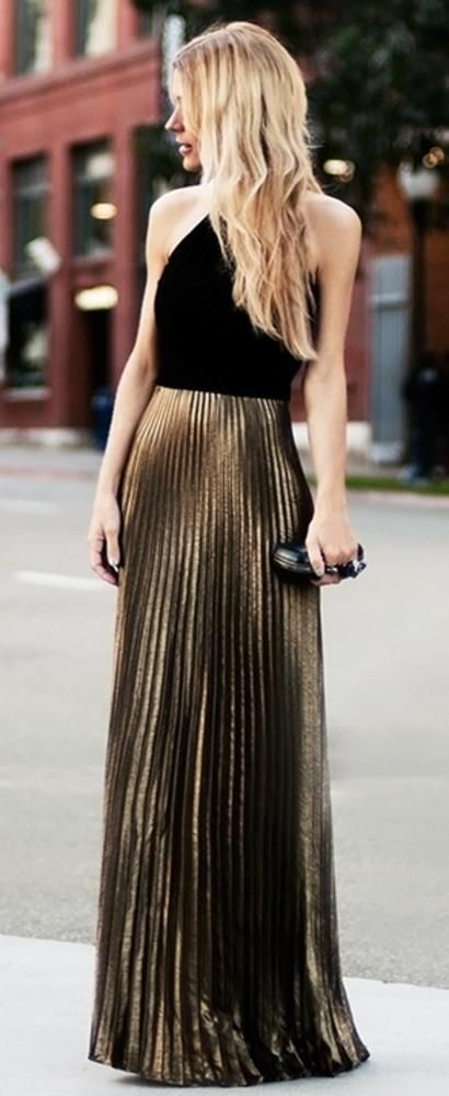 Gold Pleated Maxi Skirt
