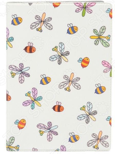 Обложка для паспорта кожаная Mitya Veselkov «Стрекозы и пчелки»Обложки для паспортов