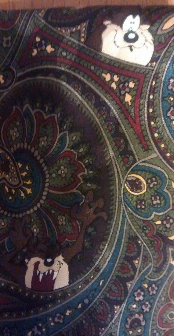 tie necktie LOONEY TUNES Mania Taz tie 100% silk por DesignsXDebbie