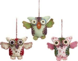 Patchwork Owl Ornaments