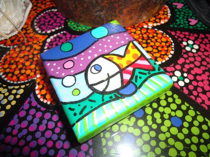 arte pop, pintada con acrilicos y posteriormente resinada