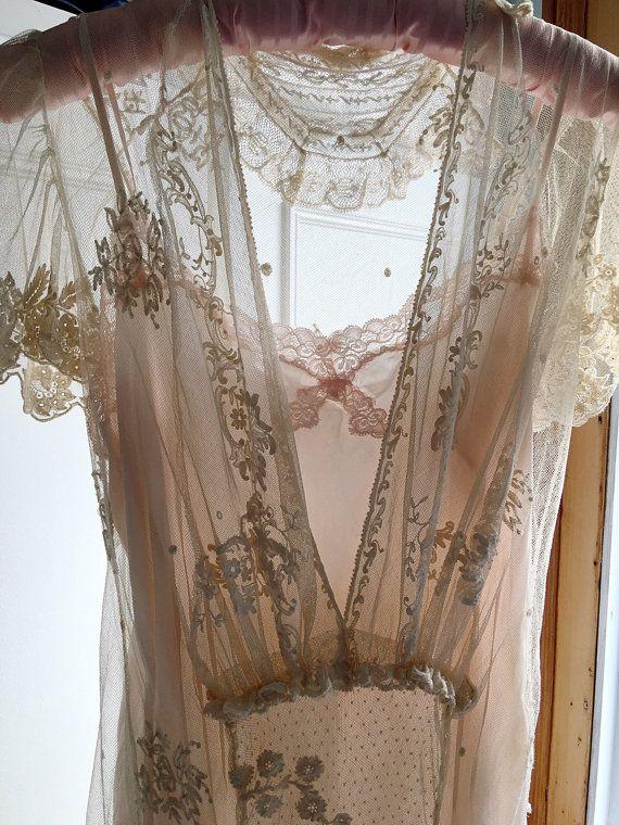 Dentelle ancienne Edwardian mariage robe 1910 Bruxelles dentelle robe de mariée bohème Unique Belle Epoque éthérée robe de mariée