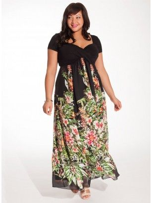 Christina Plus Size Maxi Dress in Black Floral