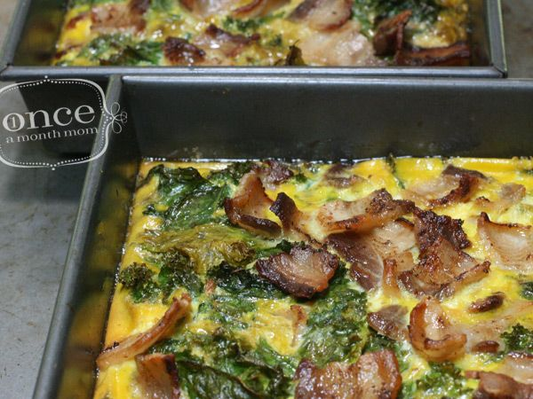 Bacon & Kale Breakfast Casserole | OAMC from Once A Month Meals. Freezer Meal. 3 c kale, 8 bacon, 12 eggs. Seasoning of choice. Bake at 375 for 20-25 min. Cool, cut, freeze, wrap.
