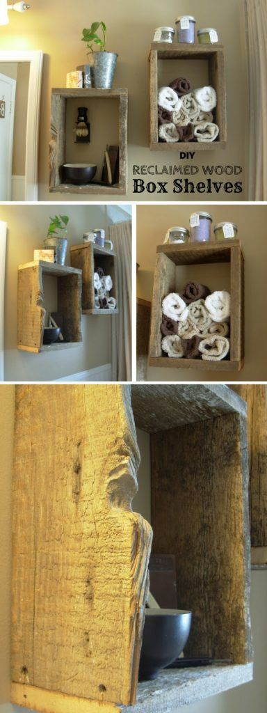 Easy to build DIY Reclaimed Wood Box Shelves for rustic bathroom decor @istandarddesign
