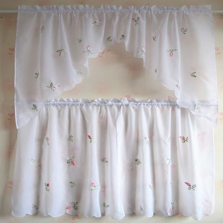 Decorative short floral cafe kitchen curtains embroidery small half tulle coffee curtain kitchen short curtain