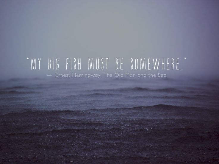 """My big fish must be somewhere."" Ernest Hemingway, The Old Man and the Sea"