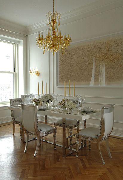 Now This Is A First For Me    Gold Chandelier With Silver Gilt Chairs. So  Very Ostentatious And Obviously Versace Home   Interior Design.