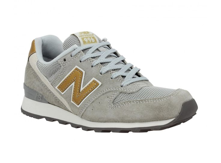 NEW BALANCE 996 velours + toile Femme Gris + Or