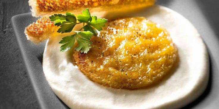 Emulsion de brie, toast au brie et beurre vanillé