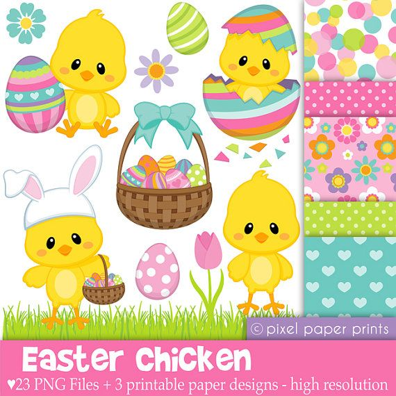 Easter Chicken - Digital paper and clip art set                                                                                                                                                                                 Mais