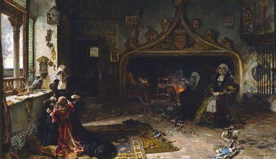 La reina doña Juana la Loca, recluida en Tordesillas con su hija, la infanta doña Catalina, por Francisco Pradilla y Ortiz (1906).
