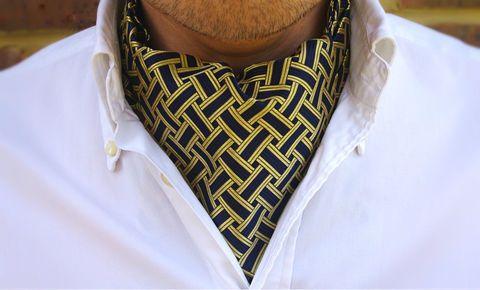 RUEBEN Woven Silk Cravat #cravat #ascot #tie #daycravat #silkcravat #silk #cravats #ascots #madeinengland #wedding #groom #groomswear #weddingideas #idea #grooms #style #weddingstyle #outfit #inspiration #weddingguest #guest #usher #ushers #buybritish #accessories #dapper #gentleman #cravatclub #navy #gold #lattice #pattern #goldcravat
